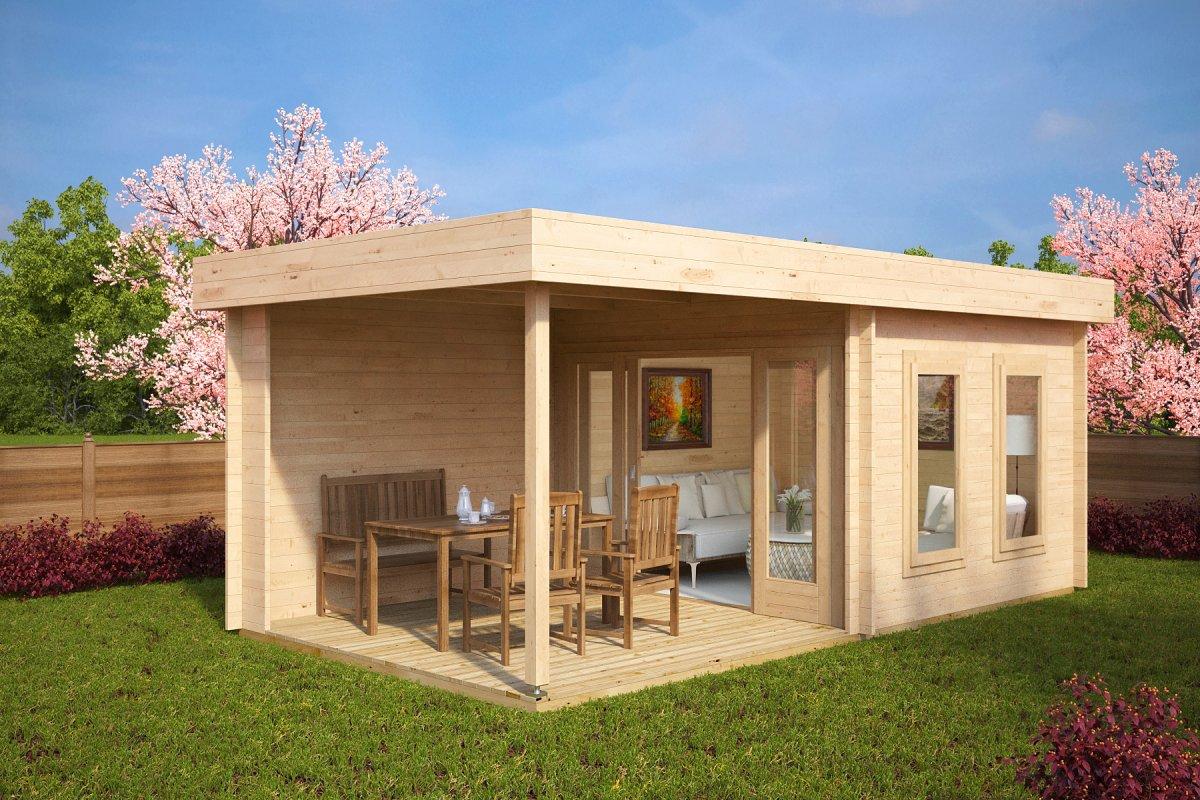 contemporary garden log cabin with veranda lucas e 9m 44mm 6 x 3 m. Black Bedroom Furniture Sets. Home Design Ideas