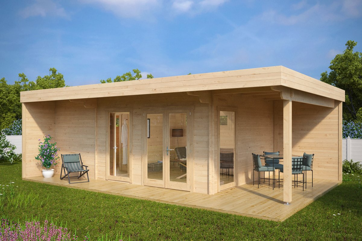 Summer House With Sauna Hansa Lounge L 22m² 44mm 8 X 5 M Timbercabins24 Co Nz